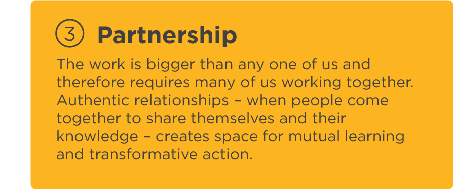 The work is bigger than any one of us and therefore requires many of us working together. Authentic relationships – when people come together to share themselves and their knowledge – creates space for mutual learning and transformative action.